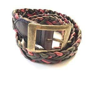 Vintage Braided Multicolor Leather Belt
